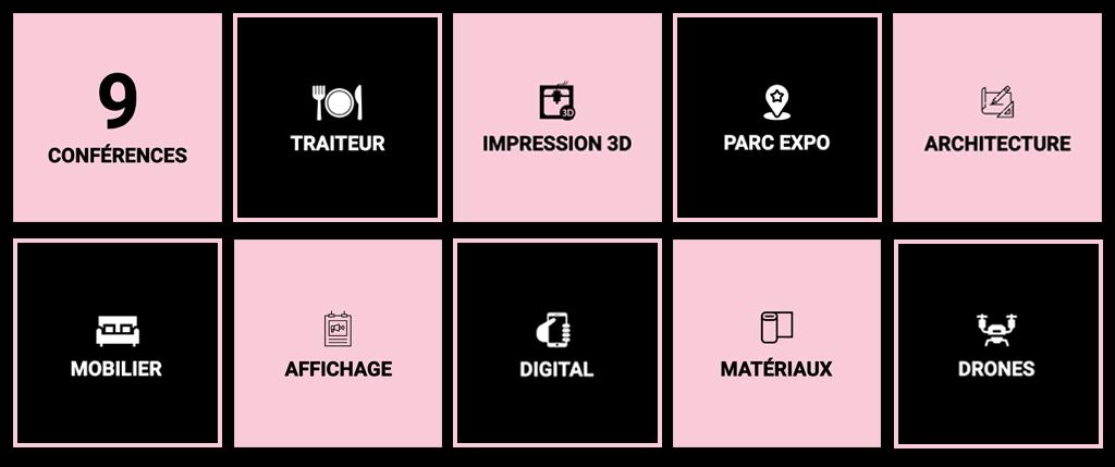 Sujets des conférences abordés lors de THE DATE 2019 : 9 conférences, drones, impression 3D, digital, matériaux...